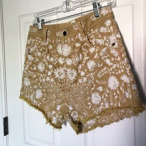 Free People Shorts - Free People High Waist Embroidered Shorts